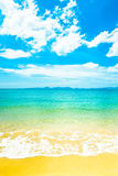 White sand beach and blue sky Stock Image