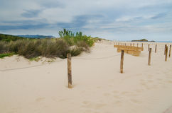 White sand beach of Chia, Sardinia Royalty Free Stock Photos