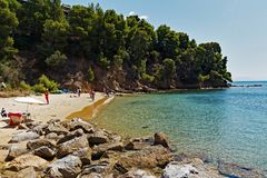 Koukounaries Beach, Skiathos Greek Island, Greece. The white sand beach at Koukounaries, a village on Skiathos, a Greek island in the northwest Aegean Sea,Greece royalty free stock image
