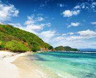 White sand beach. Malcapuya island, Philippines Royalty Free Stock Image