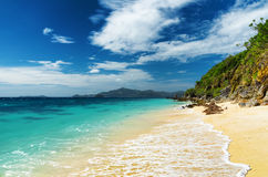 White sand beach. Malcapuya island, Philippines Stock Images