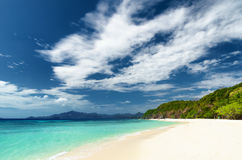 White sand beach. Malcapuya island, Philippines Stock Photo