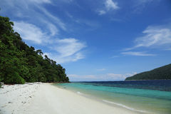 White sand beach. At midday have blue sky Stock Photos