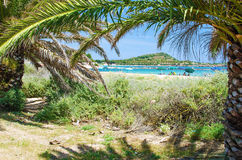 White sand beach of Nora, Sardinia Stock Photo