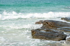 White sand beach (ocean, sea, sand, shore) and wave blue sky. Ko Stock Photography