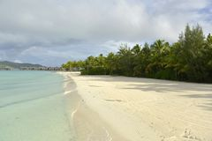 White Sand Beach in Polynesia Royalty Free Stock Photo