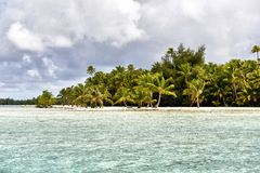 White Sand Beach in Polynesia Royalty Free Stock Photography