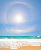 White Sand Beach with Rainbow and Sun at Phuket Stock Photos