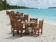 White sand beach restaurant Royalty Free Stock Photography