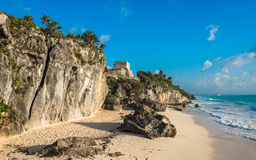 White sand beach and ruins of Tulum, Yuacatan, Mexico Stock Image