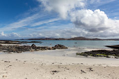 White sand beach Scottish island of Iona Scotland uk Inner Hebrides view to the Isle of Mull Stock Photos