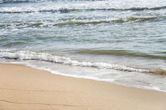 White Sand, The Beach And Splashing Waves Royalty Free Stock Photo