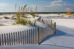 White sand beach at sunset. White sand beach and erosion fence at sunset on the gulf of mexico Royalty Free Stock Photography