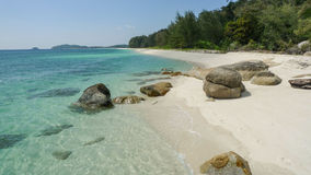 White sand beach in thailand on Adang tropical Island. Royalty Free Stock Photos
