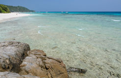 White sand beach of tropical crystal clear water Stock Photo