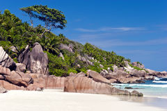 White sand beach on tropical Indian Ocean island Royalty Free Stock Images