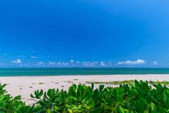 White sand beach , turquoise water and green lush trees on the foreground in south of Thailand.  royalty free stock photography