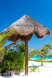 White Sand and Beach Umbrella Royalty Free Stock Images