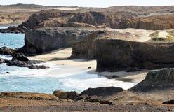White sand beach under the cliffs of Djeu Stock Image