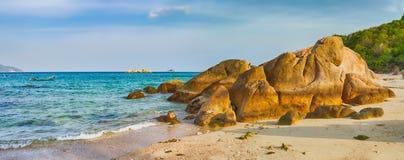 White sand beach. Vietnam. Panorama stock image