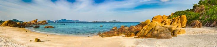 White sand beach. Vietnam. Panorama stock photography