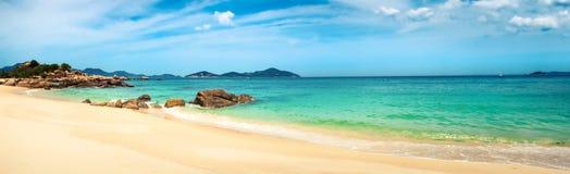 White sand beach. Vietnam. Panorama royalty free stock image