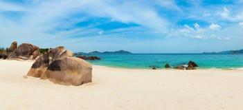 White sand beach. Vietnam. Panorama. Beautiful white sand beach. Stones on a foreground. Landscape of Vietnam. Panorama royalty free stock photos