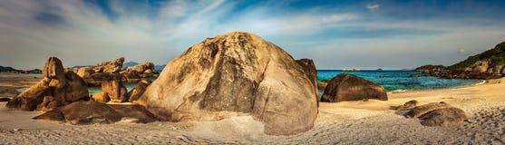 White sand beach. Vietnam. Panorama. Beautiful white sand beach. Stones on a foreground. Landscape of Vietnam. Panorama stock photography