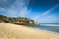 White sand beach. View of beautiful white sand beach Stock Photo