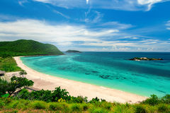 White Sand Beaches and Blue Ocean for Snorkeling at Samaesarn. Island, Sattahip, Chonburi in Thailand Stock Photo