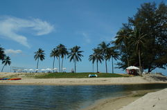White sand ,beautiful beach and blue sky Thailand stock photos