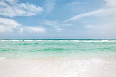 White sand blue sky aqua water Stock Photos