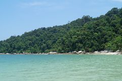 Deserted tropical beach, Pangkor island, Malaysia royalty free stock photography