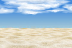 White sand with bright blue sky. Stock Photo