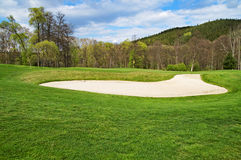 White sand bunker on the golf course Stock Photo