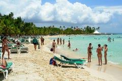 Beach santo domingo la romana. White sand in caribben america, relax, see, green water, colored fish Royalty Free Stock Image