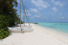 White sand catamaran Stock Images