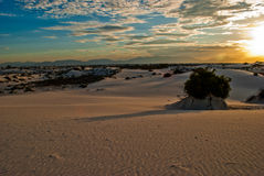 White Sand Dune National Park Long Shadows Desert Mountains NM Royalty Free Stock Photo