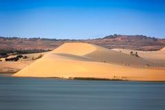 White sand dunes with blue skies, Mui Ne, Vietnam Stock Image