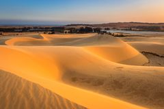 Desert Scene with Natural Curves of White Sand Dunes in Mui Ne at Sunset royalty free stock photo