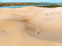 White sand dunes at Mui Ne, Vietnam. top, aerial view. White sand dunes at Mui Ne, Vietnam. top view, aerial view stock images