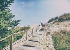 White sand dunes, Nida, Lithuania. Beautiful landscape with blue Royalty Free Stock Photos