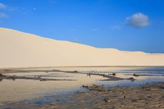 White sand dunes panorama from Lencois Maranhenses National Park. Brazil. Rainwater lagoon. Brazilian landscape Stock Photo