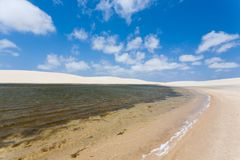 White sand dunes panorama from Lencois Maranhenses National Park. Brazil. Rainwater lagoon. Brazilian landscape Stock Images