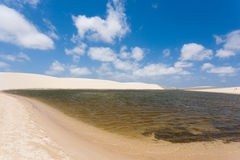 White sand dunes panorama from Lencois Maranhenses National Park Royalty Free Stock Photos