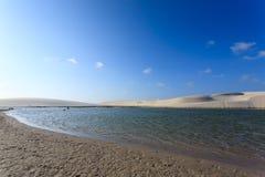 White sand dunes panorama from Lencois Maranhenses National Park Stock Photos