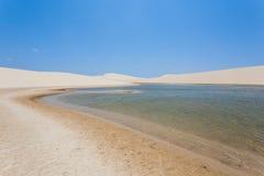 White sand dunes panorama from Lencois Maranhenses National Park Stock Photography