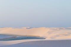 White sand dunes panorama from Lencois Maranhenses National Park Royalty Free Stock Photography