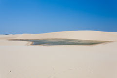 White sand dunes panorama from Lencois Maranhenses National Park Stock Image