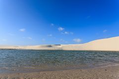 White sand dunes panorama from Lencois Maranhenses National Park. Brazil. Rainwater lagoon. Brazilian landscape Stock Photography